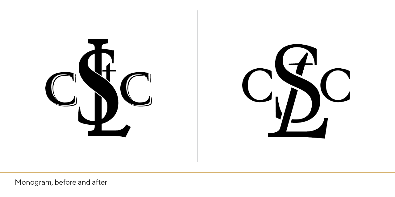 STLCC Monogram, before and after